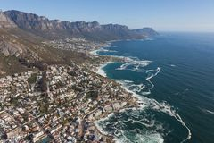 Aerial view of Cape town South Africa from a helicopter. Panorama birds eye view stock photos
