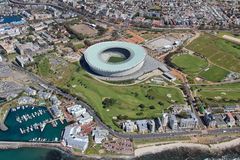 Aerial view of Cape town South Africa from a helicopter. Panorama Cape Town South Africa from birds eye view on a sunny royalty free stock image