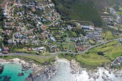 Aerial view of Cape town South Africa from a helicopter. Panorama Cape Town South Africa from birds eye view on a sunny stock photography