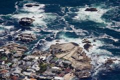 Aerial view of Cape town South Africa from a helicopter. Panorama Cape Town South Africa from birds eye view on a sunny royalty free stock photos