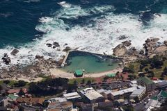 Aerial view of Cape town South Africa from a helicopter. Panorama Cape Town South Africa from birds eye view on a sunny stock image