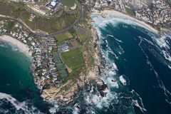 Aerial view of Cape town South Africa from a helicopter. Panorama Cape Town South Africa from birds eye view on a sunny stock photos