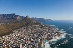 Aerial view of Cape town South Africa from a helicopter. Panorama birds eye view stock image