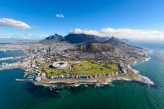 Aerial photo of Cape Town 2. Aerial view of Cape Town, South Africa on a sunny afternoon. Photo taken from a helicopter during air tour of Cape Town royalty free stock images