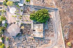 Aerial view of Capernaum, Galilee, Israel stock photo