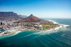 Aerial view of Capetown, SOuth Africa. Capetown, South Africa - January 28, 2016: Aerial view of coastline in Capetown, South Africa. Table mountain in Capetown royalty free stock photos