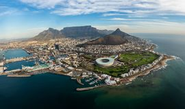 Aerial view on the Capetown Waterfront. A panoramic view on the Capetown Waterfront, photographed from a helicopter scenic flight stock photography