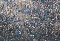 Aerial view of the capital of Nepal - Kathmandu city. Stock Photography