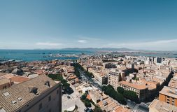 Aerial view of the capital of Sardinia from the tallest tower Royalty Free Stock Photo