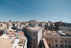 Aerial view of the capital of Sardinia from the tallest tower. Stock Image