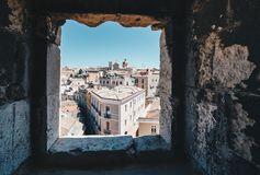 Aerial view of the capital of Sardinia from the window of the ta Royalty Free Stock Images