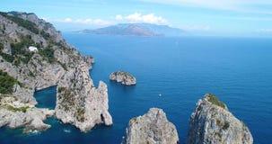 Aerial view of Capri Island and Faraglioni rocks stock video