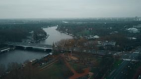 Aerial view of car bridge over the Amstel river and major road intersection. Amsterdam, Netherlands stock footage