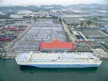 Aerial view car carrier ship in warehouse harbor at thailand . Royalty Free Stock Photography