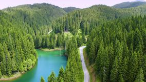 Aerial view of car driving through the fores and the lake on the side. Beautiful mountain road. Driving on the mountain road. Road stock footage