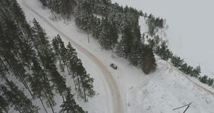 Aerial view of car driving among the winter forest covered with snow. Car driving on winter country road in snowy forest. Aerial footage stock video