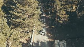 Aerial view car moving along highway among forests. Family trip by car. Aerial view car moving along highway among forests. Landscape from above car driving on stock video footage