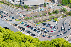 Aerial view of car park in the city. Royalty Free Stock Image