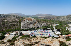 Aerial view on a car parking near Vai beach at eastern part of Crete island, Greece Stock Photography