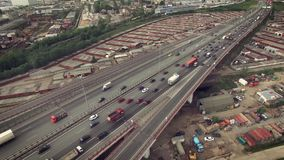 Aerial view of car traffic on highway. Aerial shot of car traffic on highway stock video