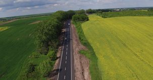 Aerial view Car Trafic on Country Road stock video footage