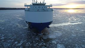 Aerial View Car Vehicle Carrier Ship Delaware Frozen River Philadelphia stock footage