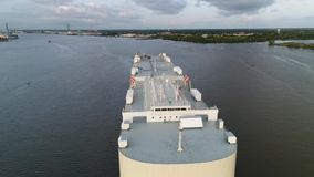 Aerial View Car Vehicle Carrier Ship Delaware River Philadelphia stock footage