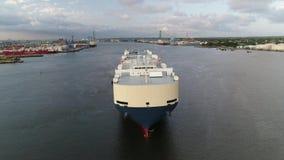 Aerial view car vehicle carrier ship Delaware River Philadelphia stock video