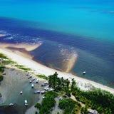 Aerial view of Caraíva & Corumbau beaches, Porto Seguro, Bahia, Brazil stock photo