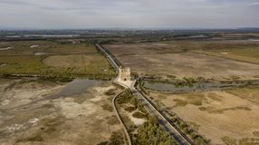 Aerial view of the Carbonniere Tower near Aigues-Mortes city in France Royalty Free Stock Image