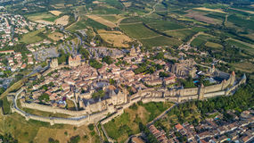 Aerial view of Carcassonne medieval city and fortress castle from above, Sourthern France. Aerial top view of Carcassonne medieval city and fortress castle from Royalty Free Stock Image