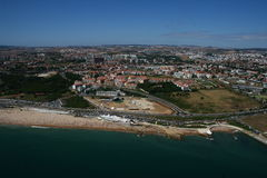 Aerial view of Carcavelos Beach. An aerial view of Carcavelos Beach in portugal royalty free stock images