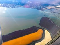 Colorful Salt ponds. Aerial view of the Cargill Salt Ponds in San Francisco, California Royalty Free Stock Photos