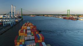 Aerial View Cargo Container Ship Delaware River Philadelphia stock footage