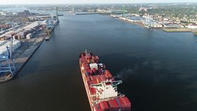 Aerial View Cargo Container Ship Delaware River Philadelphia stock video footage