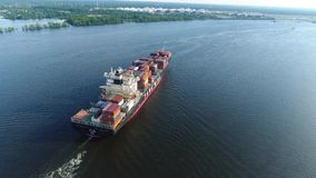 Aerial View Cargo Container Ship Delaware River Philadelphia stock video