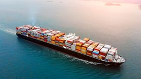 Aerial view of cargo container ship on ocean royalty free stock image