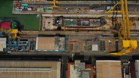 Cargo and passenger seaport in surabaya, java, indonesia. Aerial view cargo and passenger seaport with ships and crane Tanjung Perak, surabaya, indonesia. docks royalty free stock photography