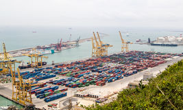Aerial view on cargo seaport full of containers in Barcelona Stock Photo