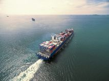 Aerial view of cargo ship, cargo container in warehouse harbor a. T thai Royalty Free Stock Images