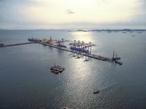 Aerial view of cargo ship, cargo container in warehouse harbor a. T thai Stock Photo