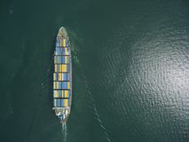 Aerial view of cargo ship, cargo container in warehouse harbor a. T thai Royalty Free Stock Photo