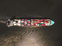 Aerial view of Cargo ship With containers , Top view . Stock Photo