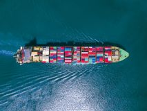 Aerial view of Cargo ship With containers , Top view dock. Royalty Free Stock Images