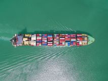 Aerial view of Cargo ship With containers , Top view . Stock Images