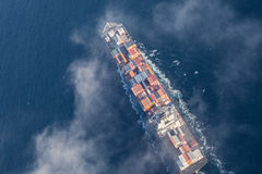 Aerial view of a cargo ship at sea Royalty Free Stock Photography