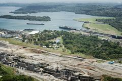 Cargo ships at Gatun Locks and the new larger set Stock Photo