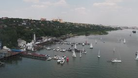Aerial view of the cargo ships in Singapore harbor. Footage stock video footage