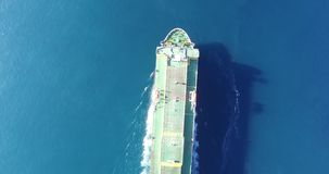 Aerial view of a Cargo vessel stock video