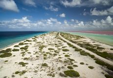 Aerial view of Caribbean coast along the island of Bonaire Stock Image